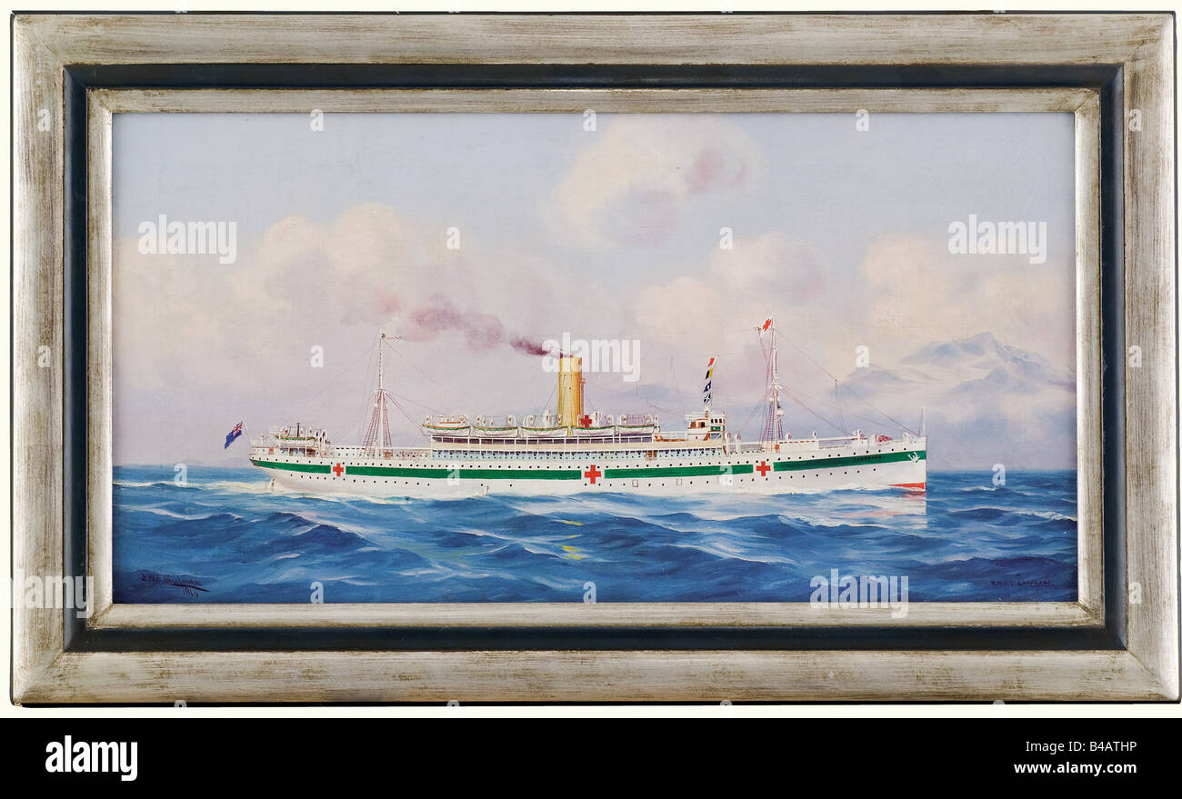 'H.M.H.S. Lanfranc', a painting of the passenger ship, which was used in World War I as a hospital ship. - Stock Image