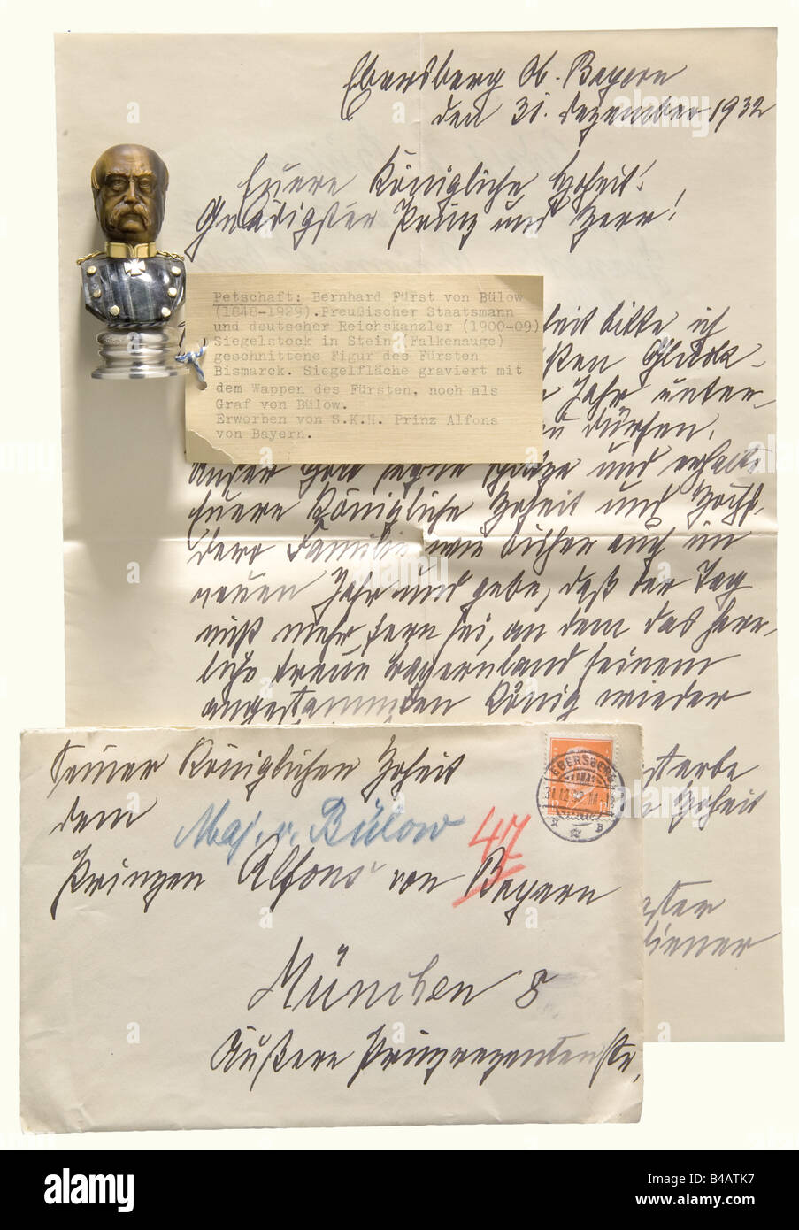 Bernhard, Prince von Bülow (1849 - 1929) - a personal seal for the Imperial Chancellor and Prussian Prime Minister - Stock Image