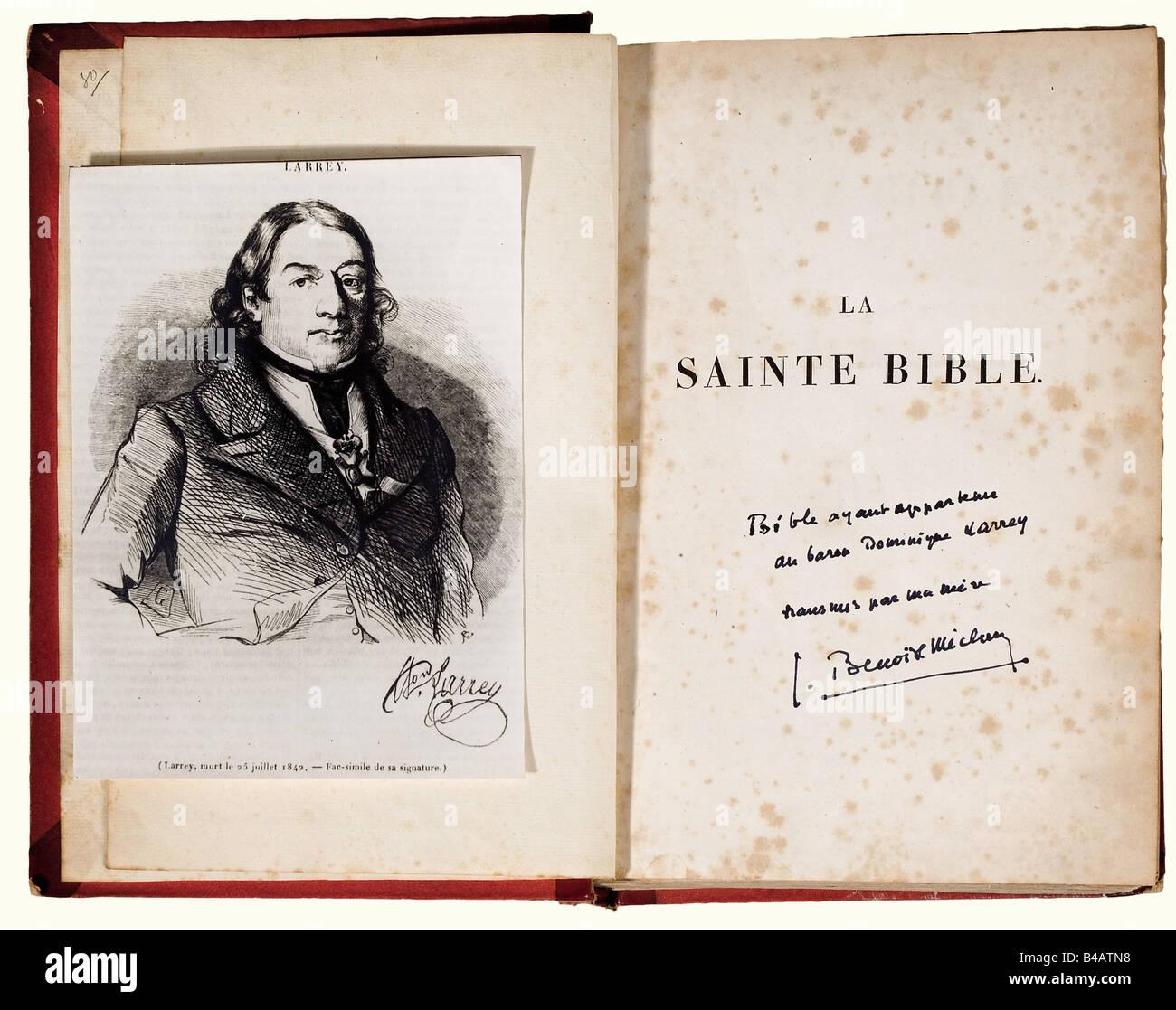 Dominique Larrey, chirurgien en chef de la Garde Impériale. Sainte Bible (édition de 1819) ayant appartenue - Stock Image