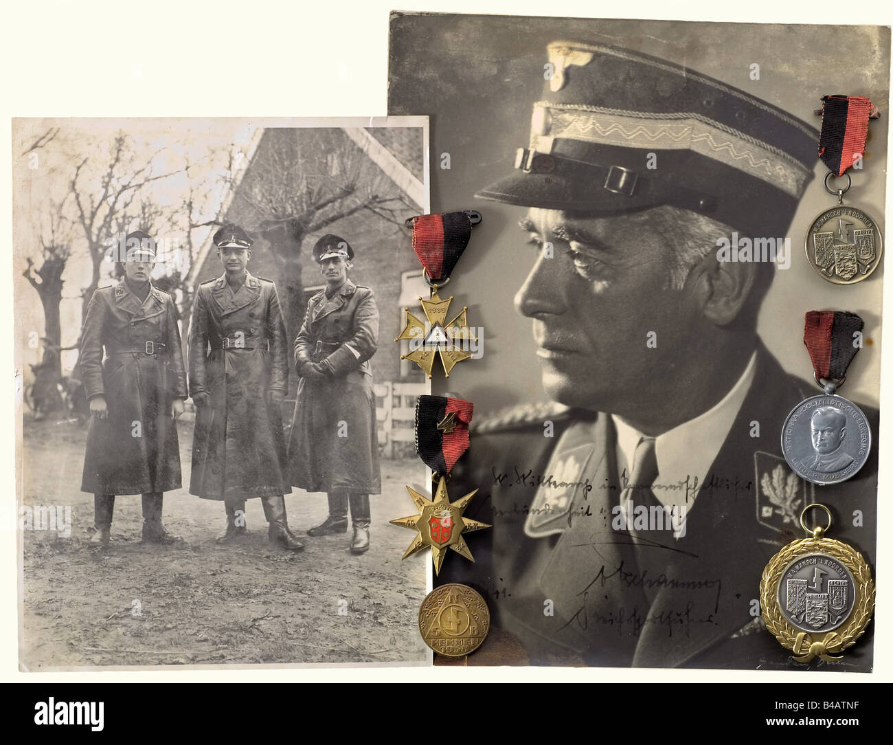 A legacy of documents and insignia, from SS-Obersturmführer Walter Wittkampf in the 83rd Grenadier Regiment - Stock Image