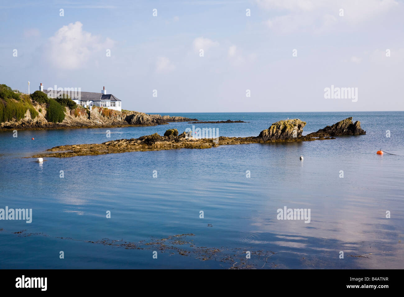 Small bay on rocky coastline in AONB. Bull Bay (Porth Llechog) Anglesey North Wales UK Britain. - Stock Image