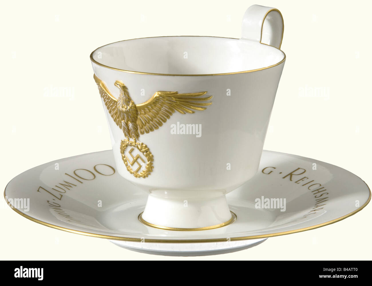 Hermann Göring - a KPM presentation cup celebrating a centenary., White porcelain with gold trim, on one side - Stock Image