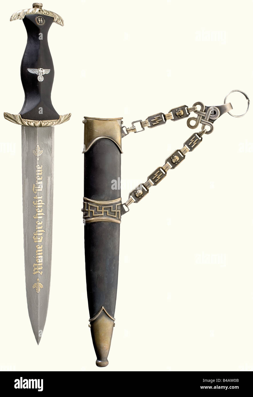 An SS honour dagger., Blade with the gilded etching of the motto, and on the reverse side with,' In herzlicher - Stock Image