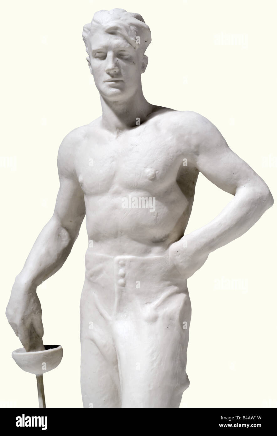The fencer., White bisque porcelain figure. On the base plate the recessed artist's signature 'O. Obermaier', - Stock Image
