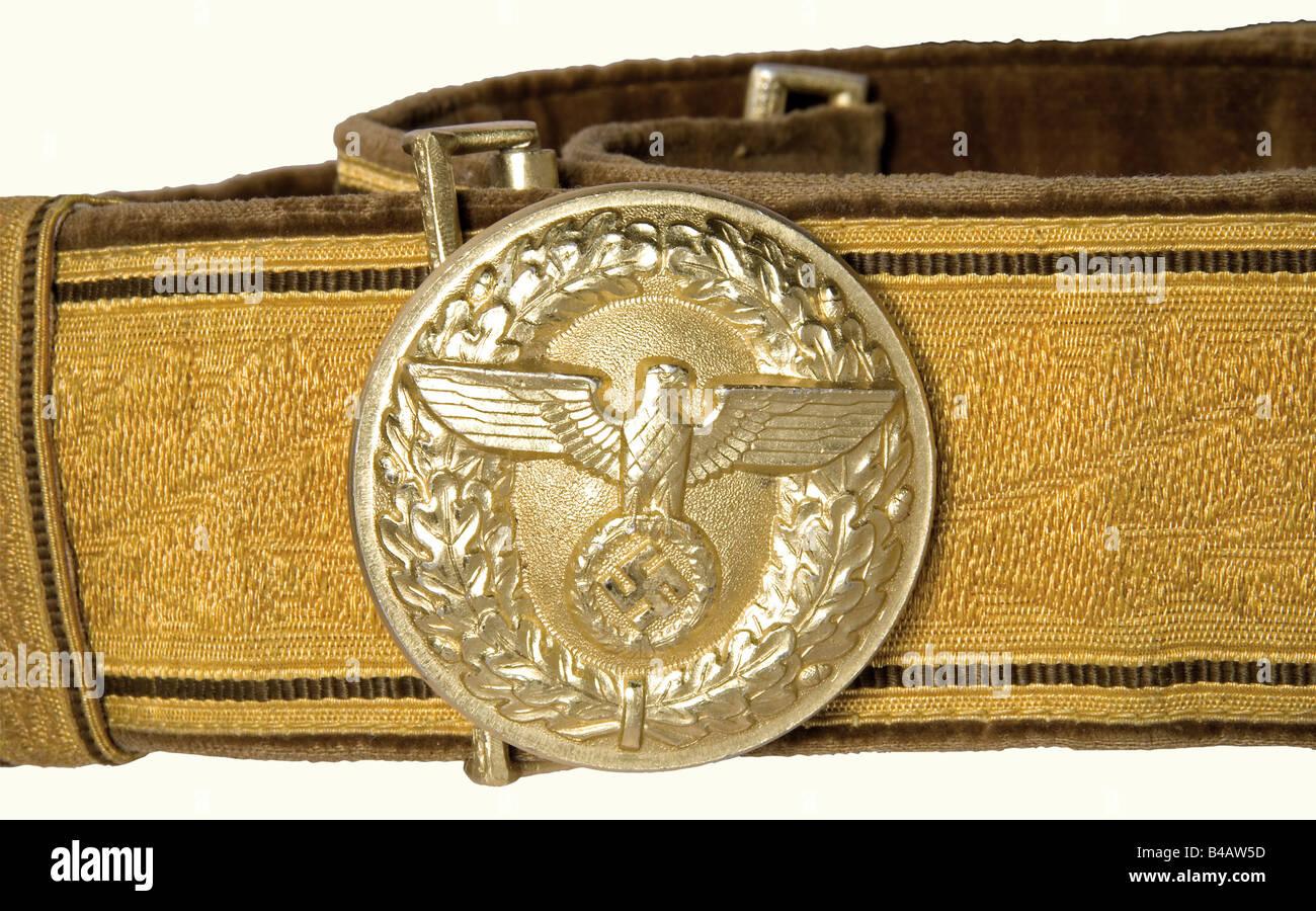 A parade belt for a Political Leader., Gold-coloured cello version with oak leaf decoration, brown velvet backing, - Stock Image