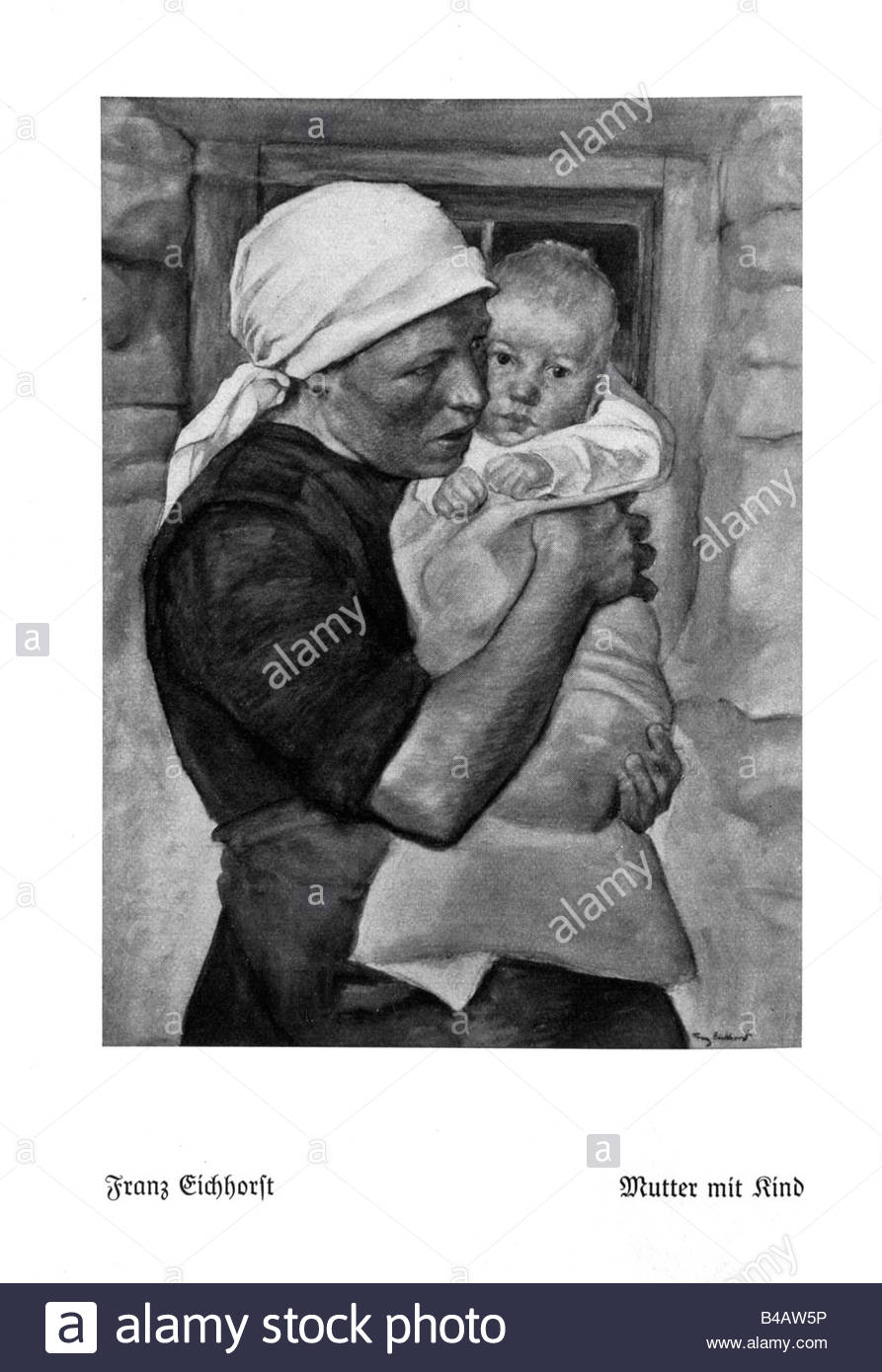 Franz Eichhorst (1885 - 1948) - 'Mother with Child'., Watercolour on paper/cardboard, signed on the lower - Stock Image