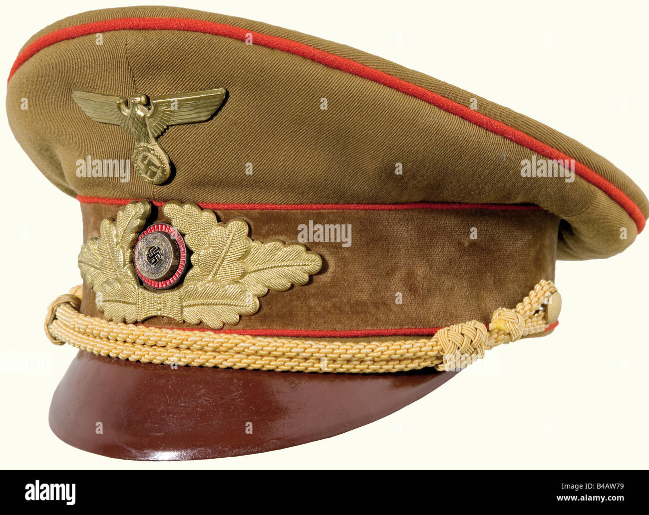 A visor cap for members of the Gauleitung., Brown gabardine with a brown velvet cap band (two small holes), red - Stock Image