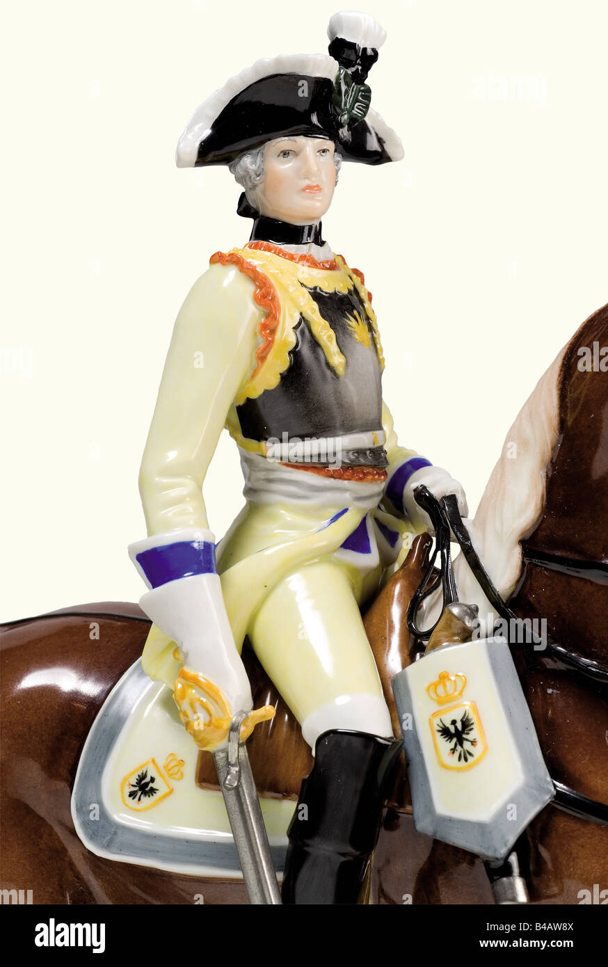 A Seydlitz-Cuirassier Officer., Detailed, couloured and glazed porcelain figure of a Prussian cuirassier of the - Stock Image