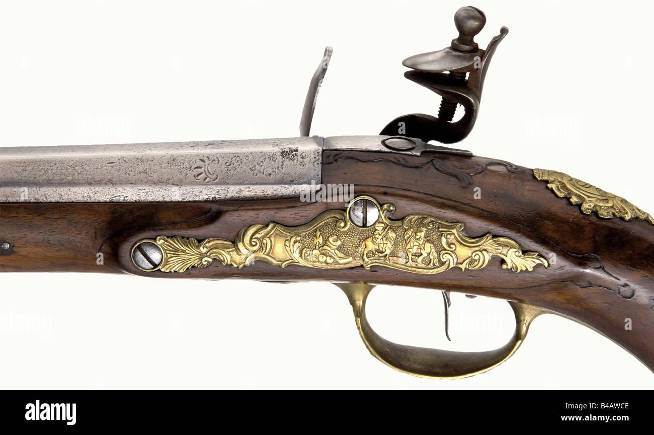 A pair of flintlock pistols, Thaddäus Poltz, Karlsbad, circa 1770. Two-stage barrels, octagonal breech section - Stock Image