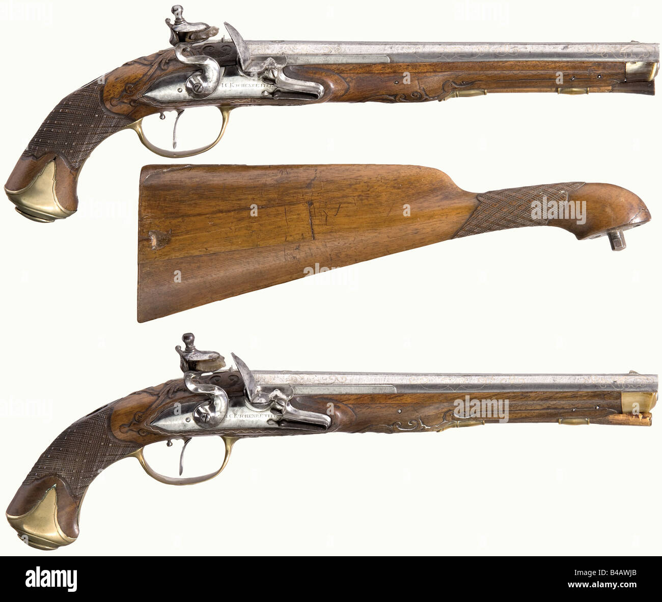 A pair of flintlock pistols with detachable shoulder stock, Johann Christoph Kuchenreuter, Steinweg near Regensburg, - Stock Image