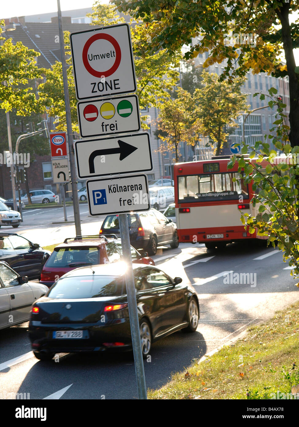Cars entering the umwelt zone environmental zone in the city centre of Cologne Germany need to have a special sticker - Stock Image