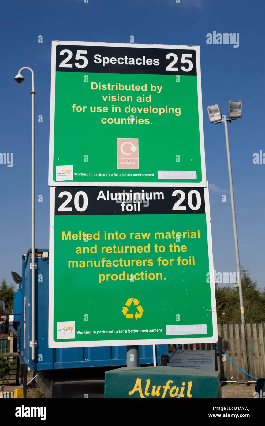 Notice recycling spectacles and aluminium site Wingmoor Farm Stoke Orchard Cheltenham UK - Stock Image