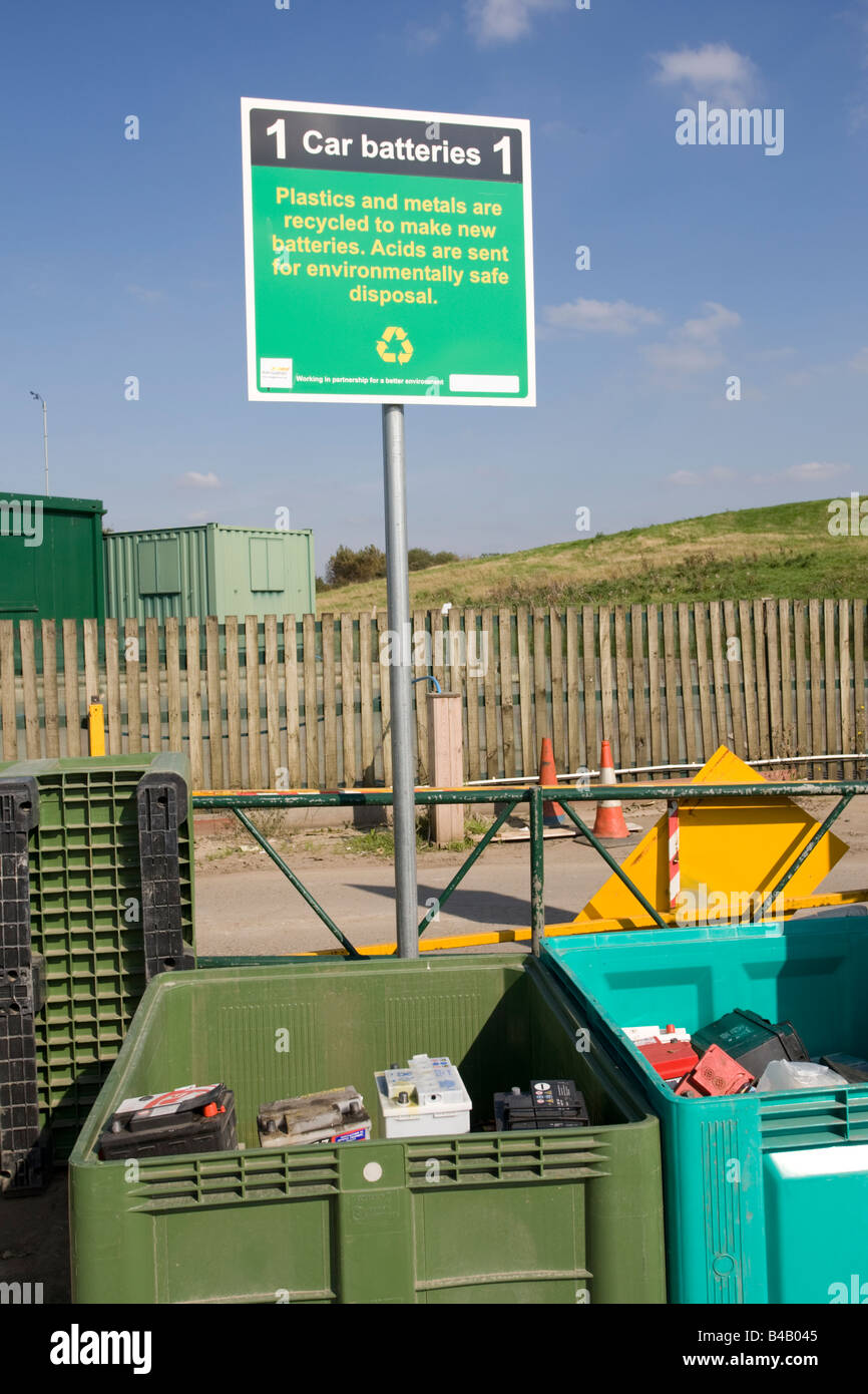 Car battery recycling point Wingmoor Farm site Stoke Orchard Cheltenham UK - Stock Image