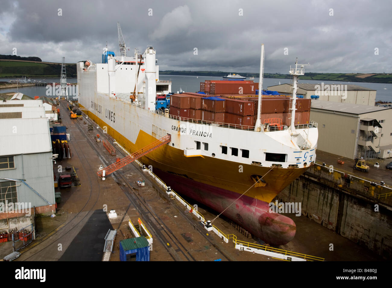 Grande Francia container cargo ship in dry dock Grimaldi Lines Falmouth Docks Cornwall UK - Stock Image