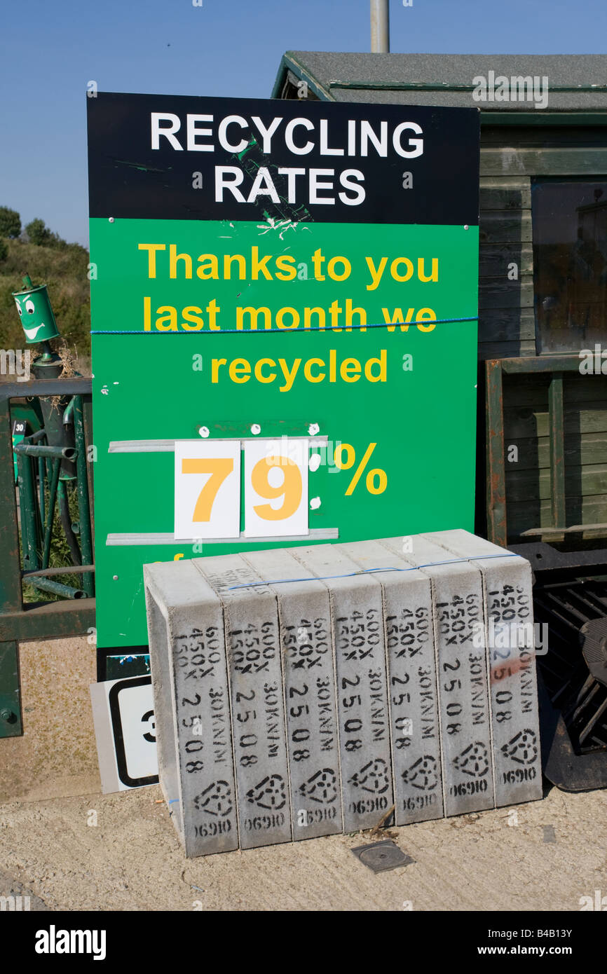 Signboard showing recycling rates domestic recycling site Wingmoor Farm Stoke Orchard Cheltenham UK - Stock Image