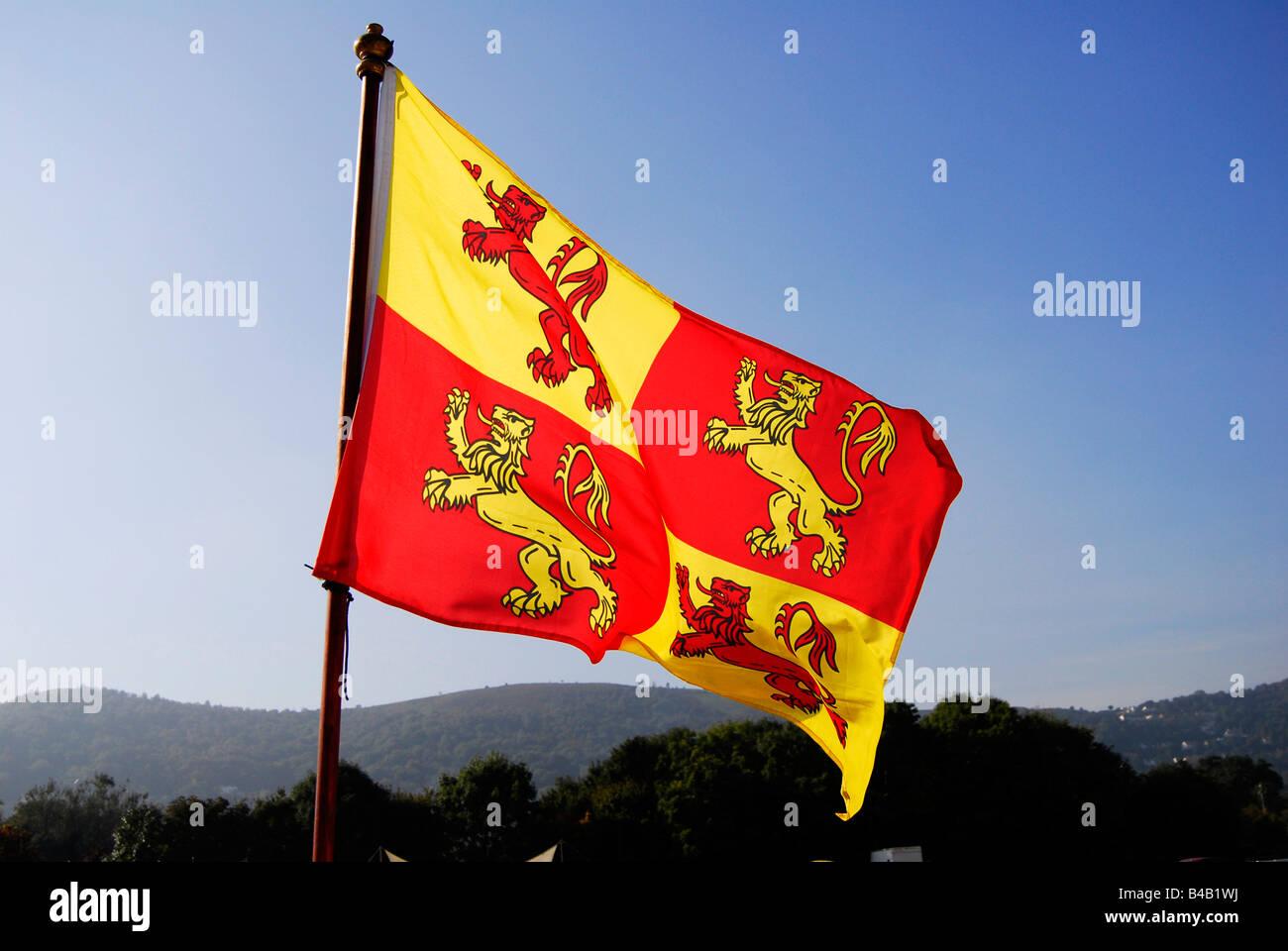 red and yellow lion rampant heraldic flag - Stock Image