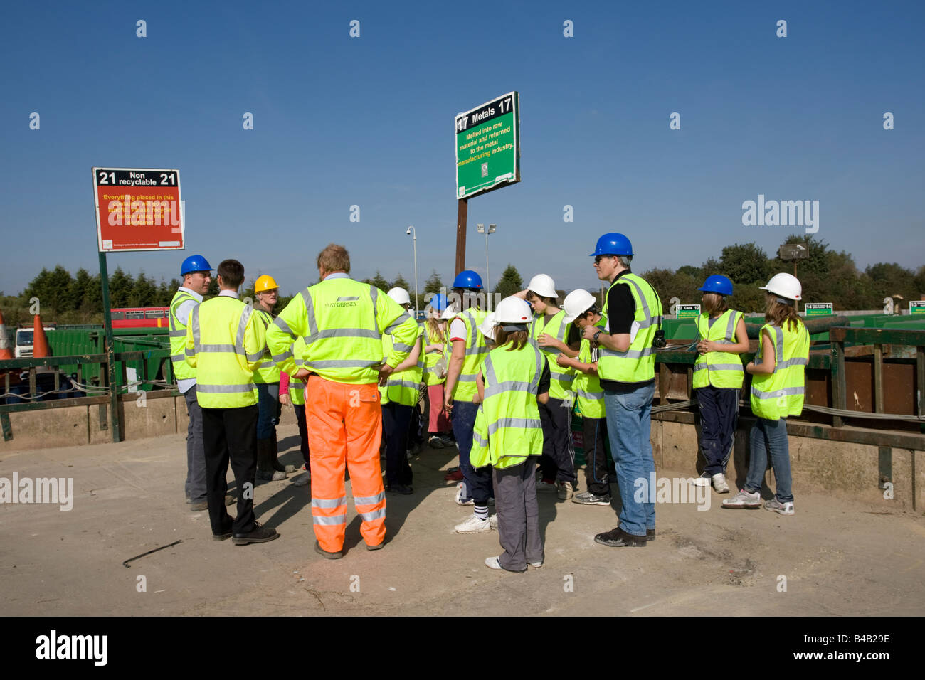 Educational school visit to domestic recycling site Wingmoor Farm Stoke Orchard Cheltenham UK - Stock Image