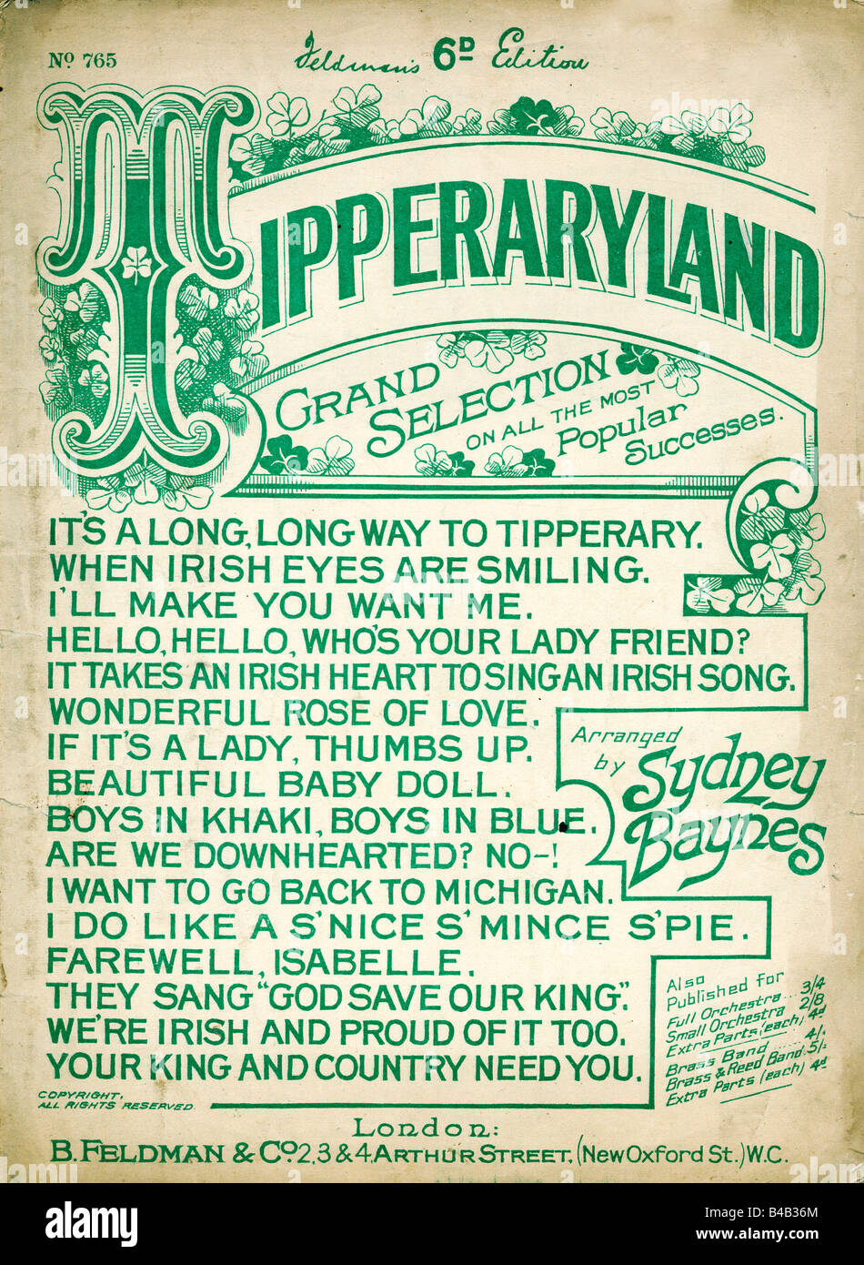 Tipperaryland 1914 music sheet cover of a selection of popular Irish