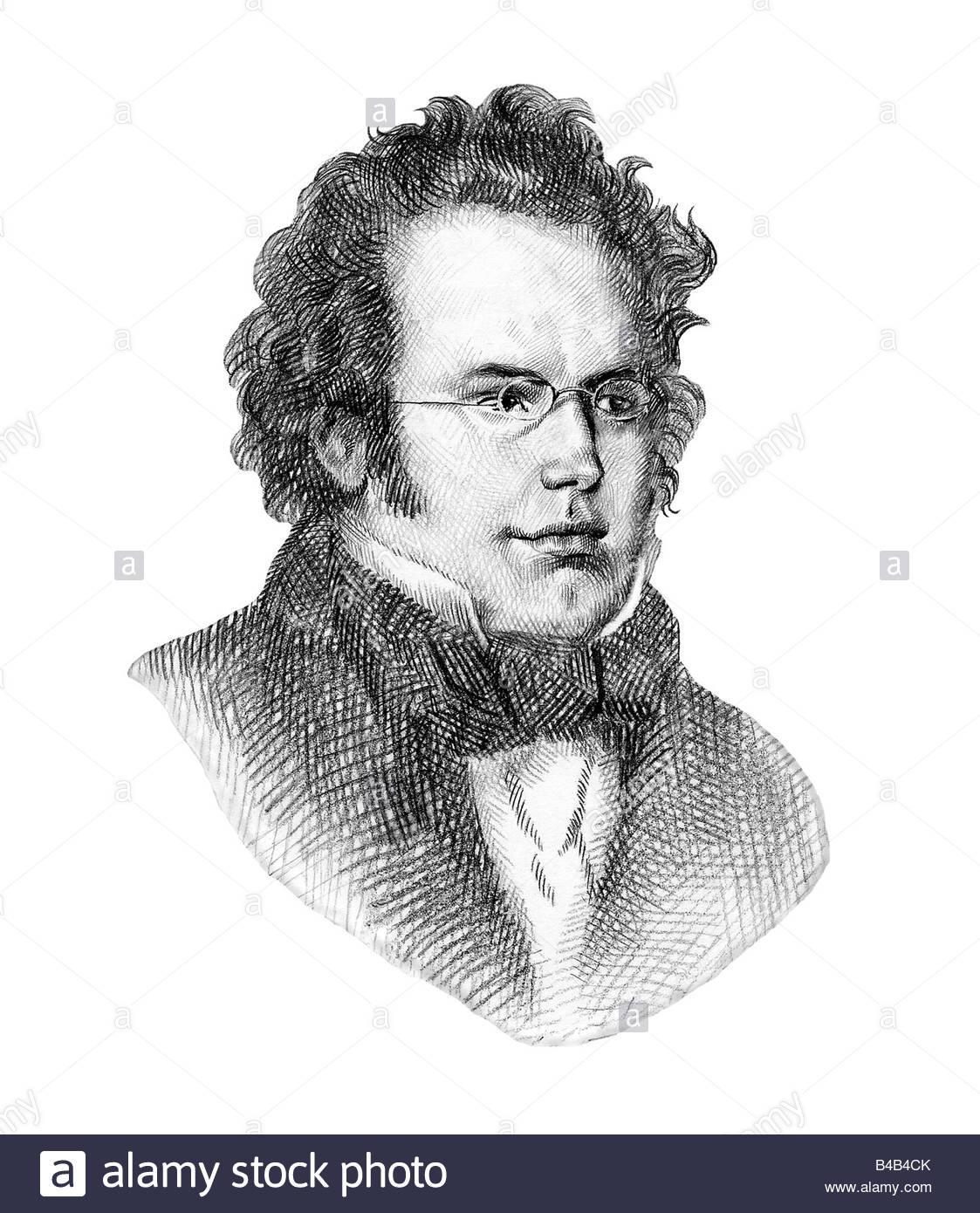 Franz Schubert 1797 1828 Austrian Composer Cross Hatch Style Modern