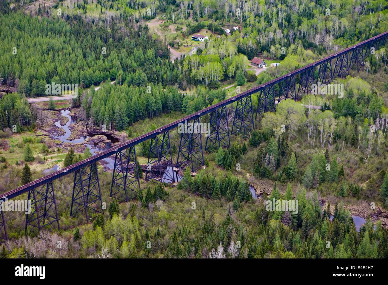 High Level rail bridge near near the town of Ouimet in Ontario, Canada. - Stock Image