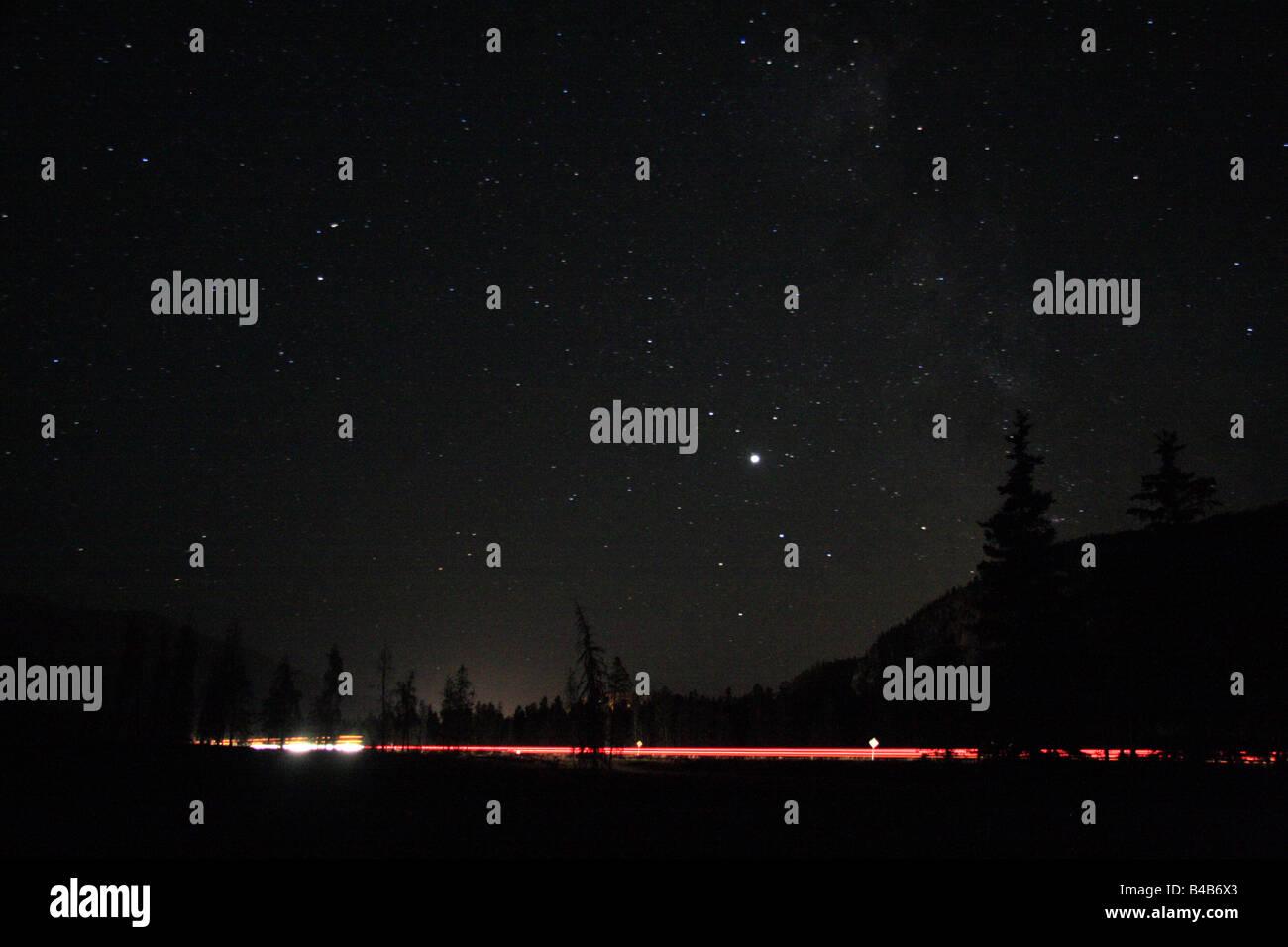 Dark starry skies in Jasper National Park, Alberta - Stock Image