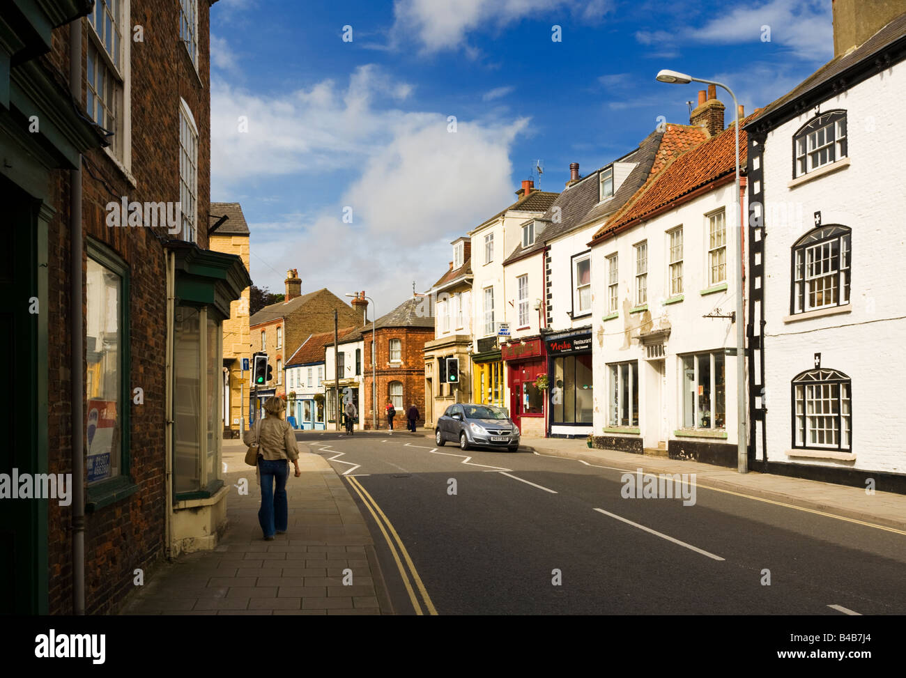 Typical English High street in Alford, Lincolnshire, England, UK Stock Photo