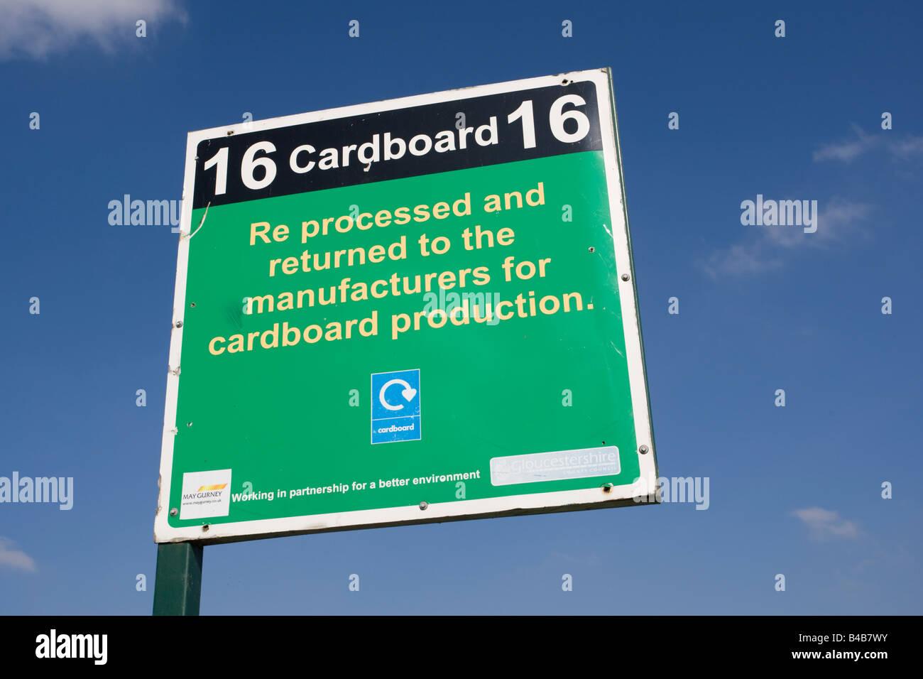 Notice cardboard recycling domestic site Wingmoor Farm Stoke Orchard Cheltenham UK - Stock Image
