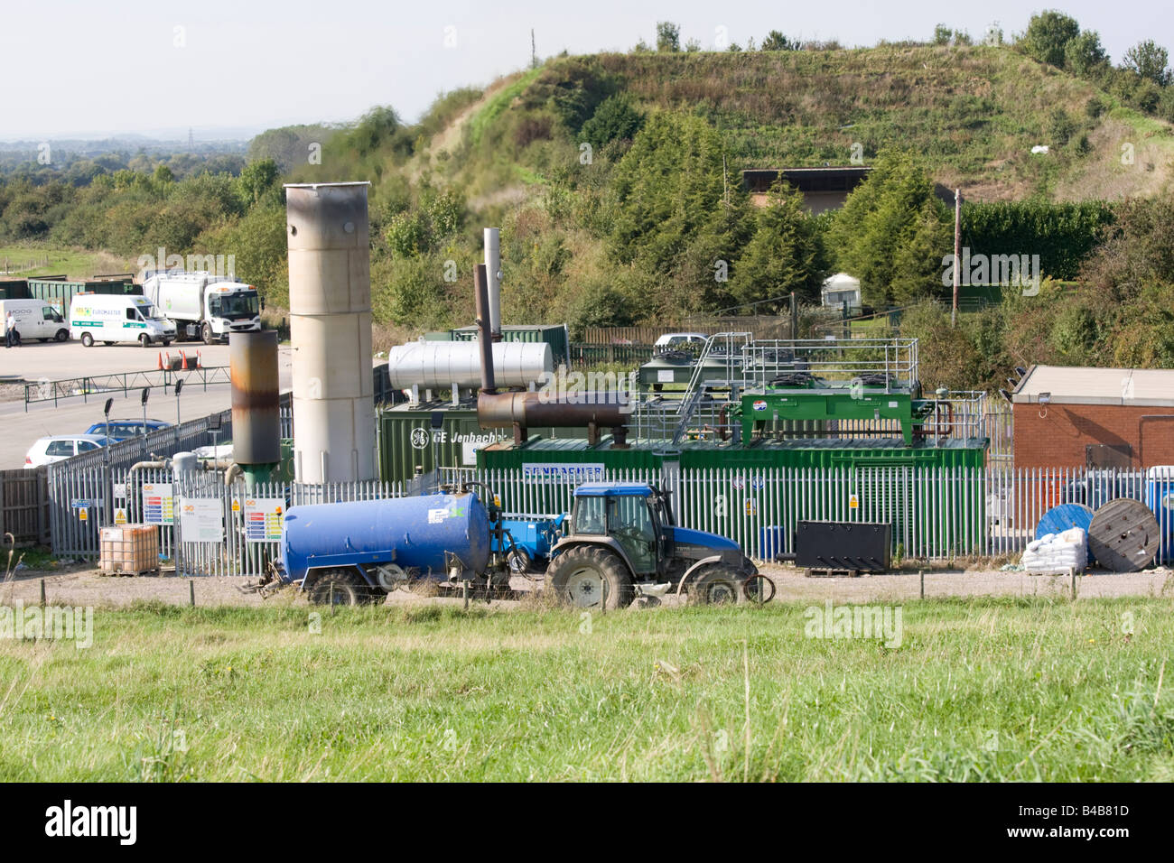 Electricity generation from methane recycling landfill site Wingmoor Farm Stoke Orchard Cheltenham UK - Stock Image