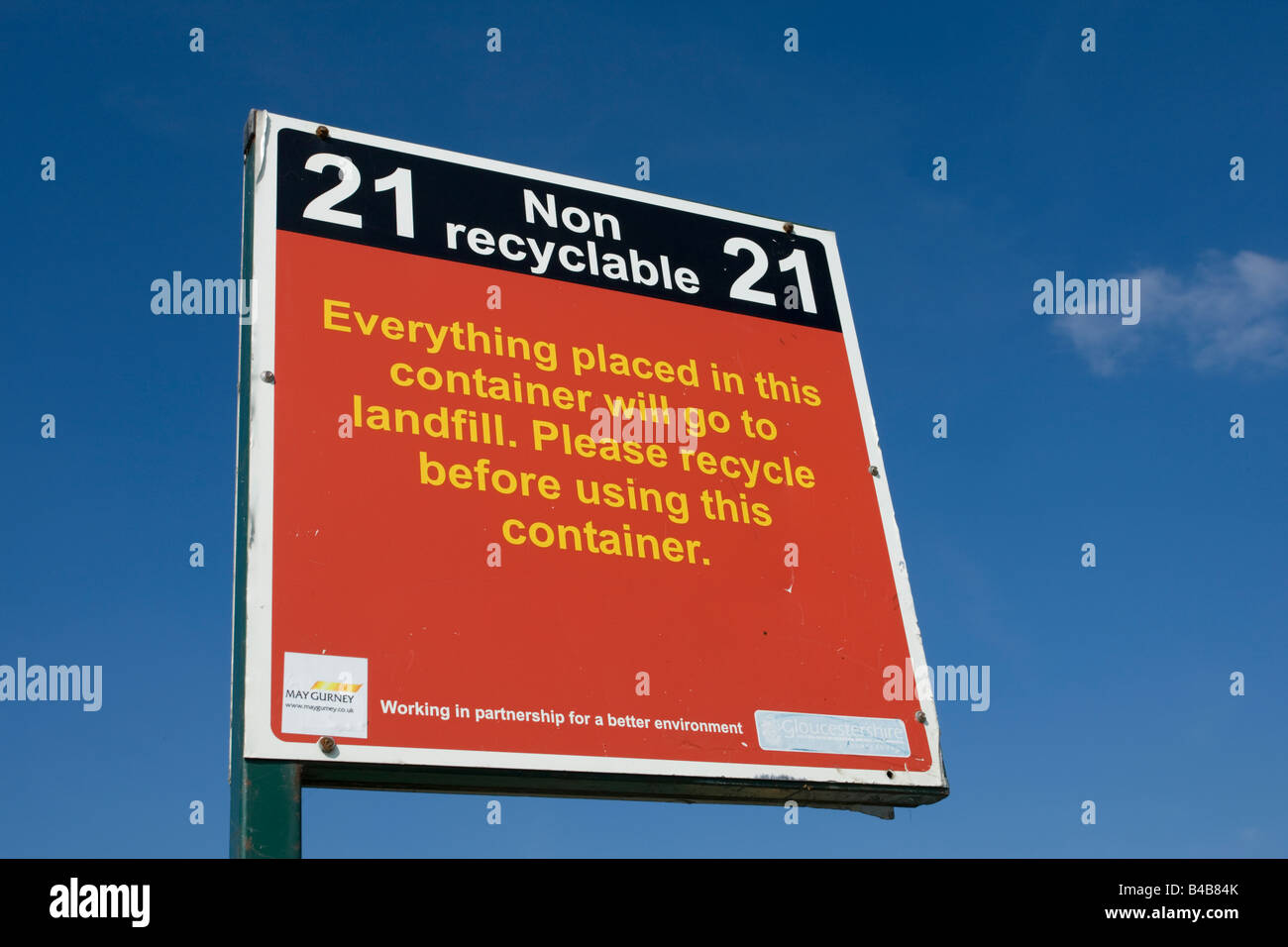 Notice non recyclable waste for landfill domestic site Wingmoor Farm Stoke Orchard Cheltenham UK - Stock Image