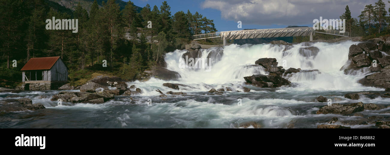 Waterfall at Likholefossen, with modern duplex stainless steel bridge, Norway - Stock Image