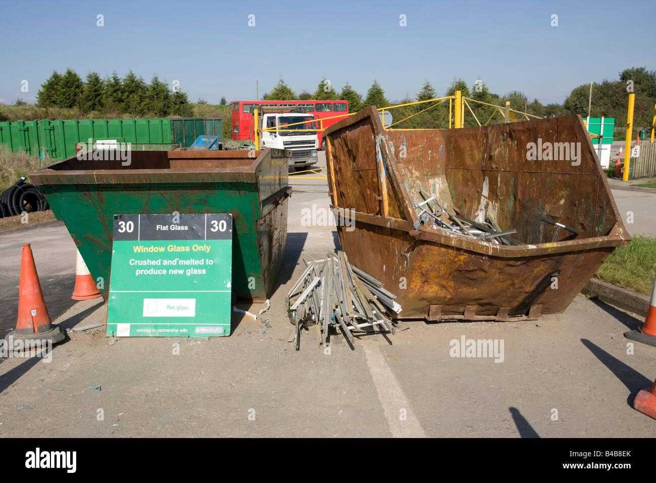 Window glass recycling skip domestic site Wingmoor Farm Stoke Orchard Cheltenham UK - Stock Image