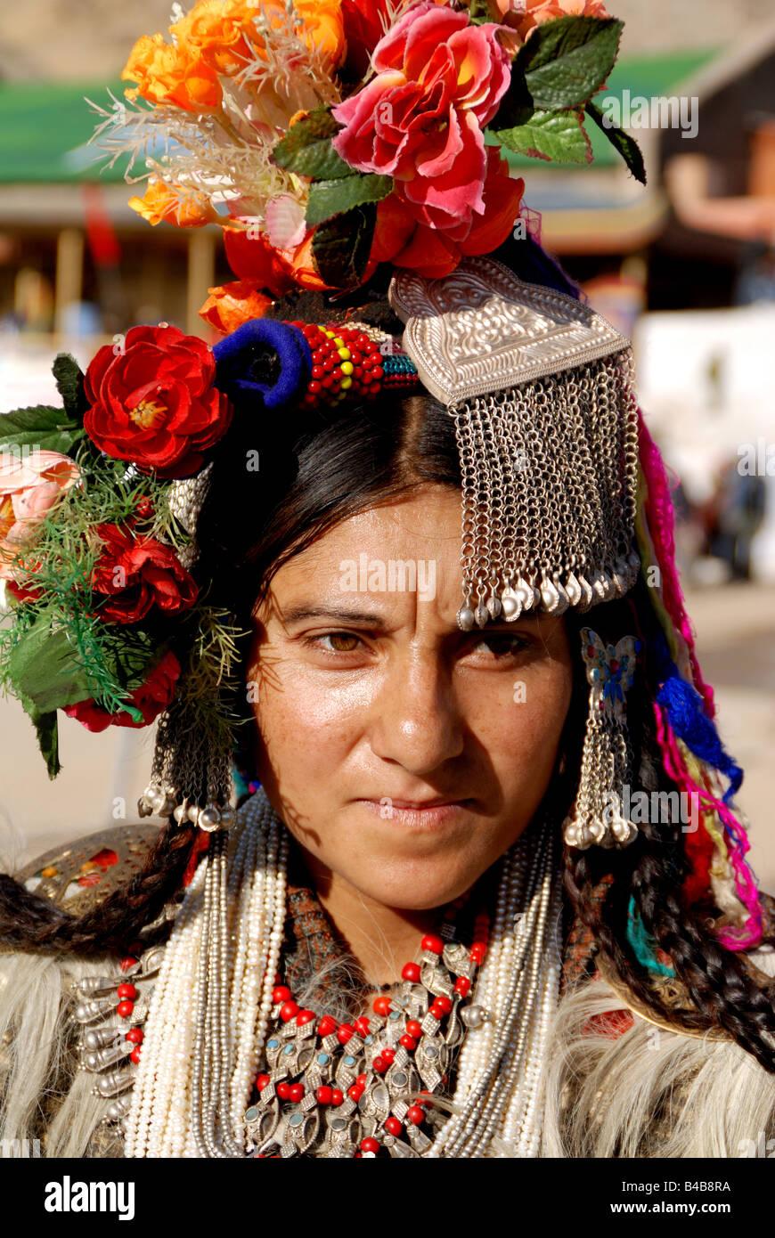 Ladakhi woman have Ladakhi Traditional Dress in Ladakh festival.Ladakh festival,Lamayuru,Ladakh,India,Jammu and Stock Photo