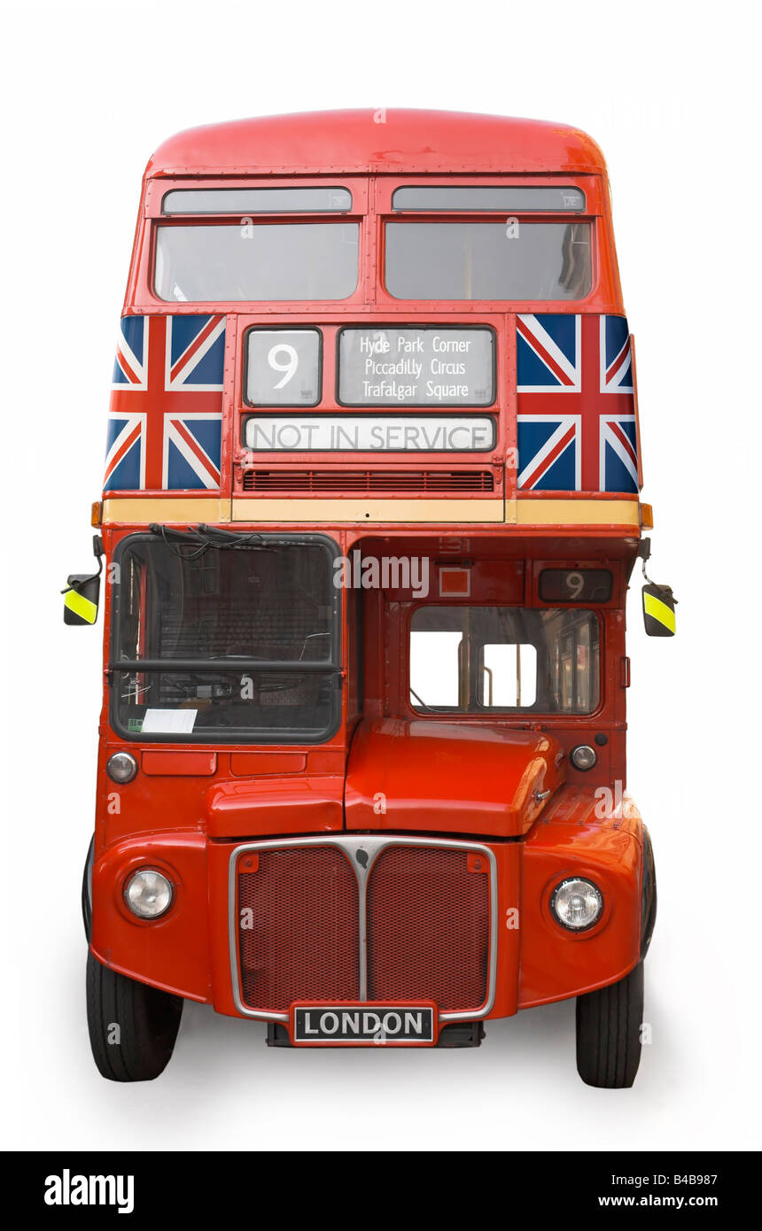 An Isolated London Bus with two Union Jacks on the front - Stock Image