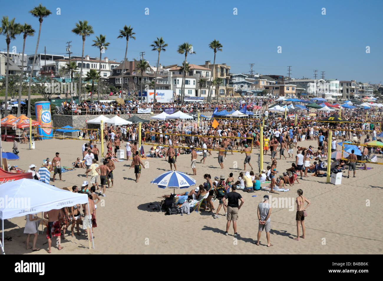 Beach volley ball competitions on Manhattan Beach, California - Stock Image