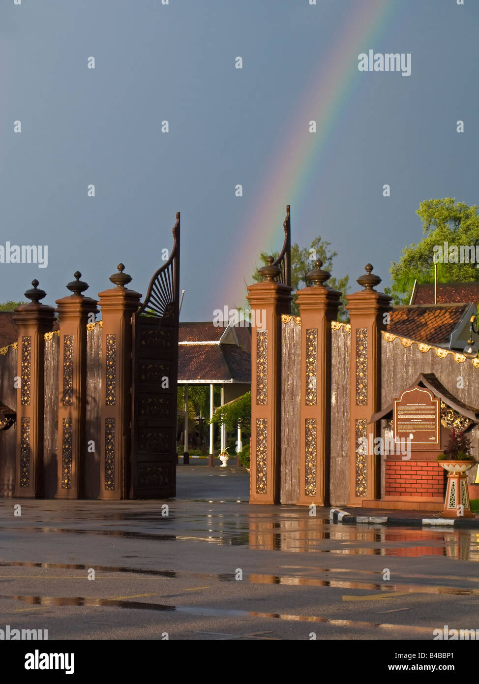 Asia, Malaysia, Kelantan State, Kota Bharu, entrance to the Royal Palace complex detail - Stock Image