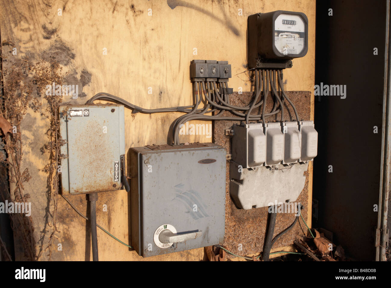 old electricity junction box stock photos old electricity rh alamy com Electrical Junction Box Diagrams Simple Electrical Wire Junction Box Diagrams