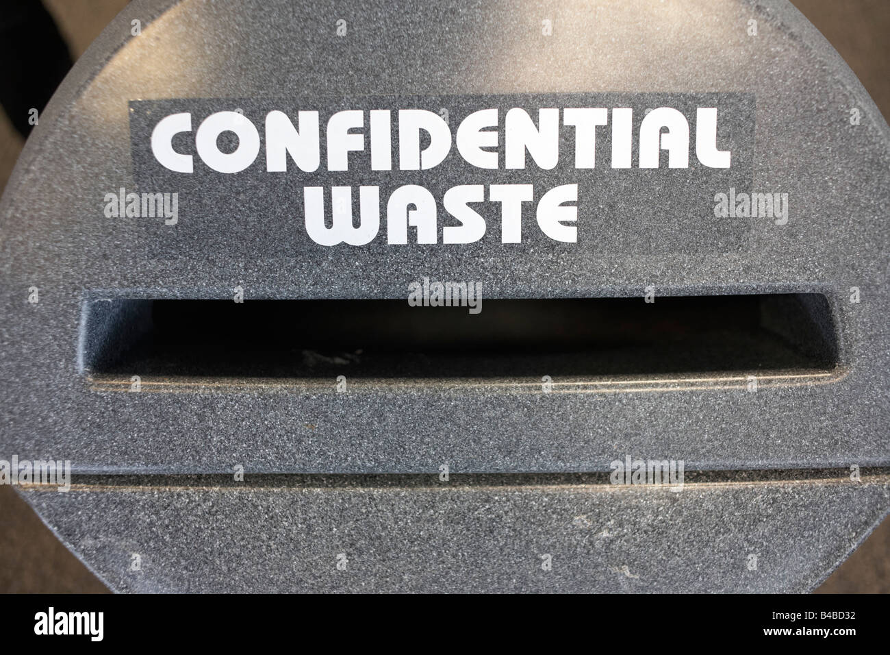 Protecting data in a confidential waste depository at an auditing company's European headquarters - Stock Image
