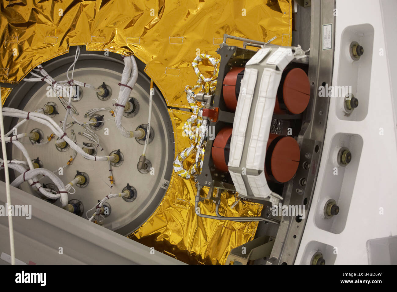 Solar foil detail of European Space Agency's Automated Transfer Vehicle (ATV) Jules Verne module constructed - Stock Image