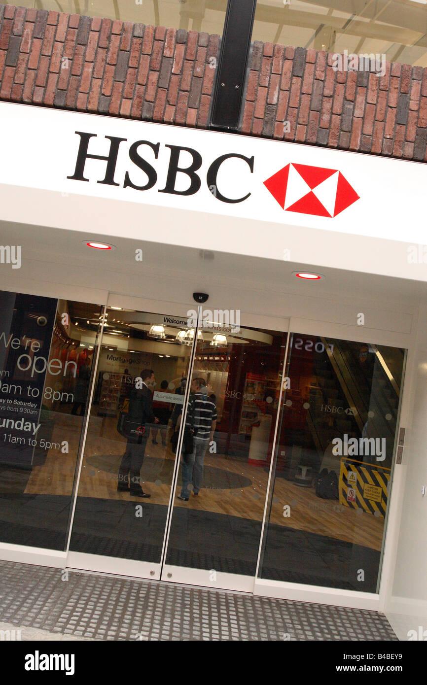 HSBC bank branch in UK high street shopping centre Stock Photo