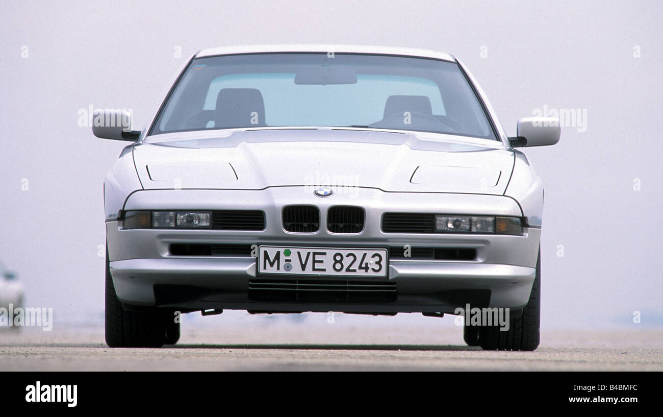 Car, BMW 850i, roadster, model year 1990-1992, silver, FGHDS, coupe/Coupe, standing, upholding, Front view - Stock Image