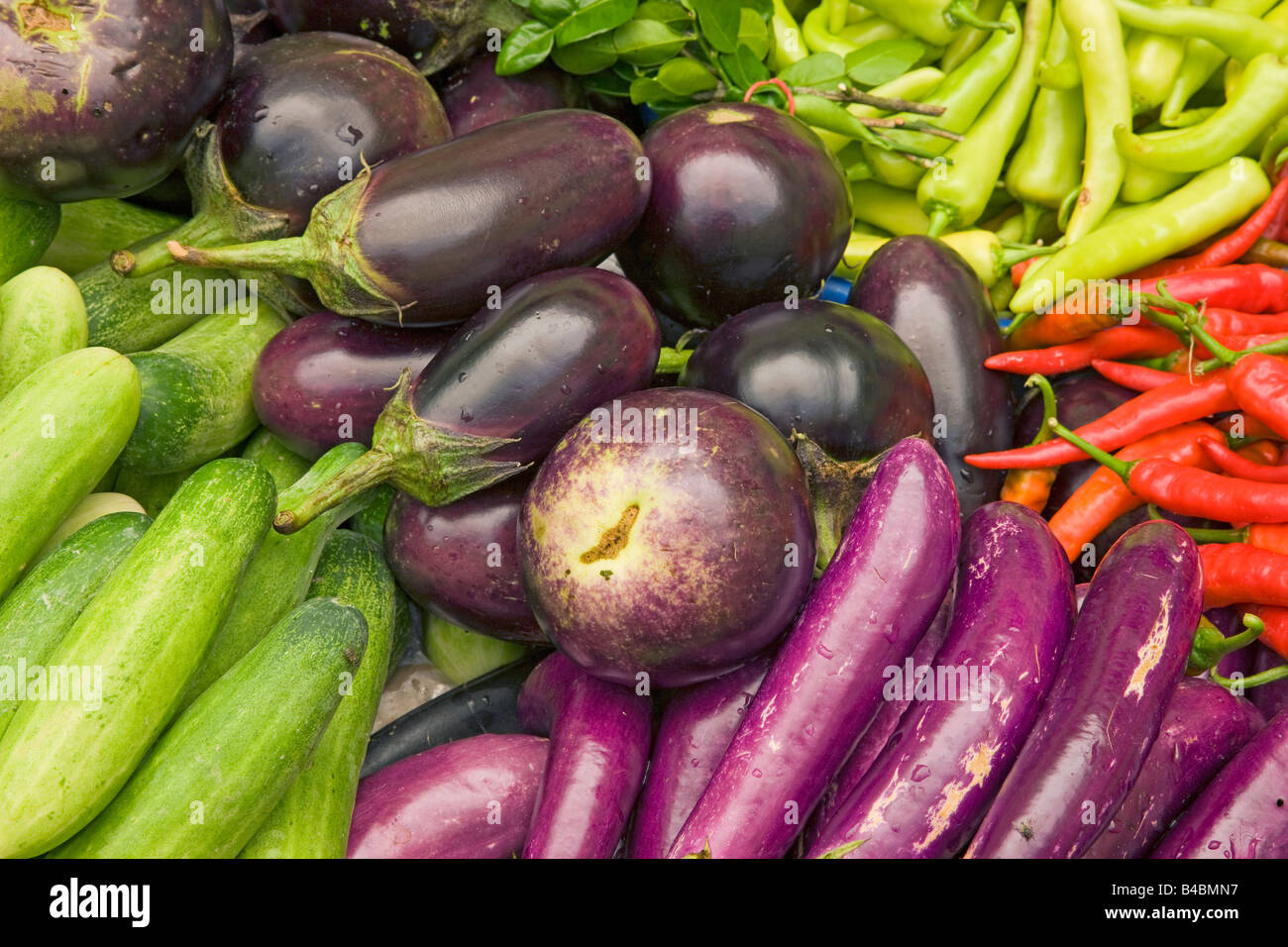 Asia, Malaysia, Kelantan State, Kota Bharu, Vegetables for sale in the towns central market - Stock Image