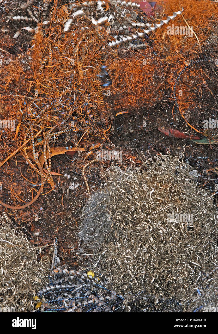 scrap metal shavings - Stock Image
