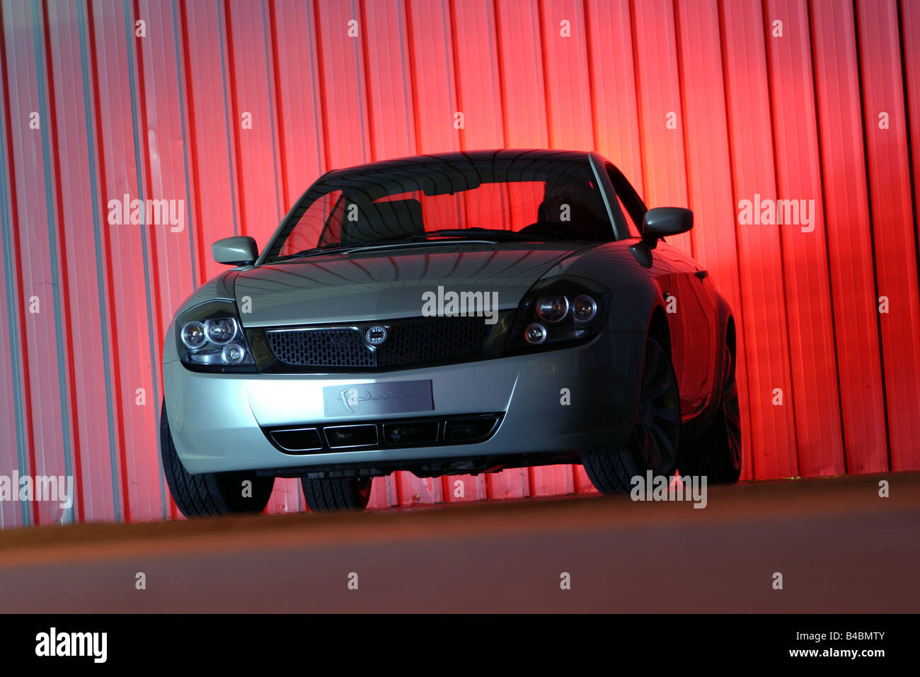 Car, Lancia Fulvia, Study, Draft and design study, model year 2003, silver, standing, upholding, diagonal from the - Stock Image