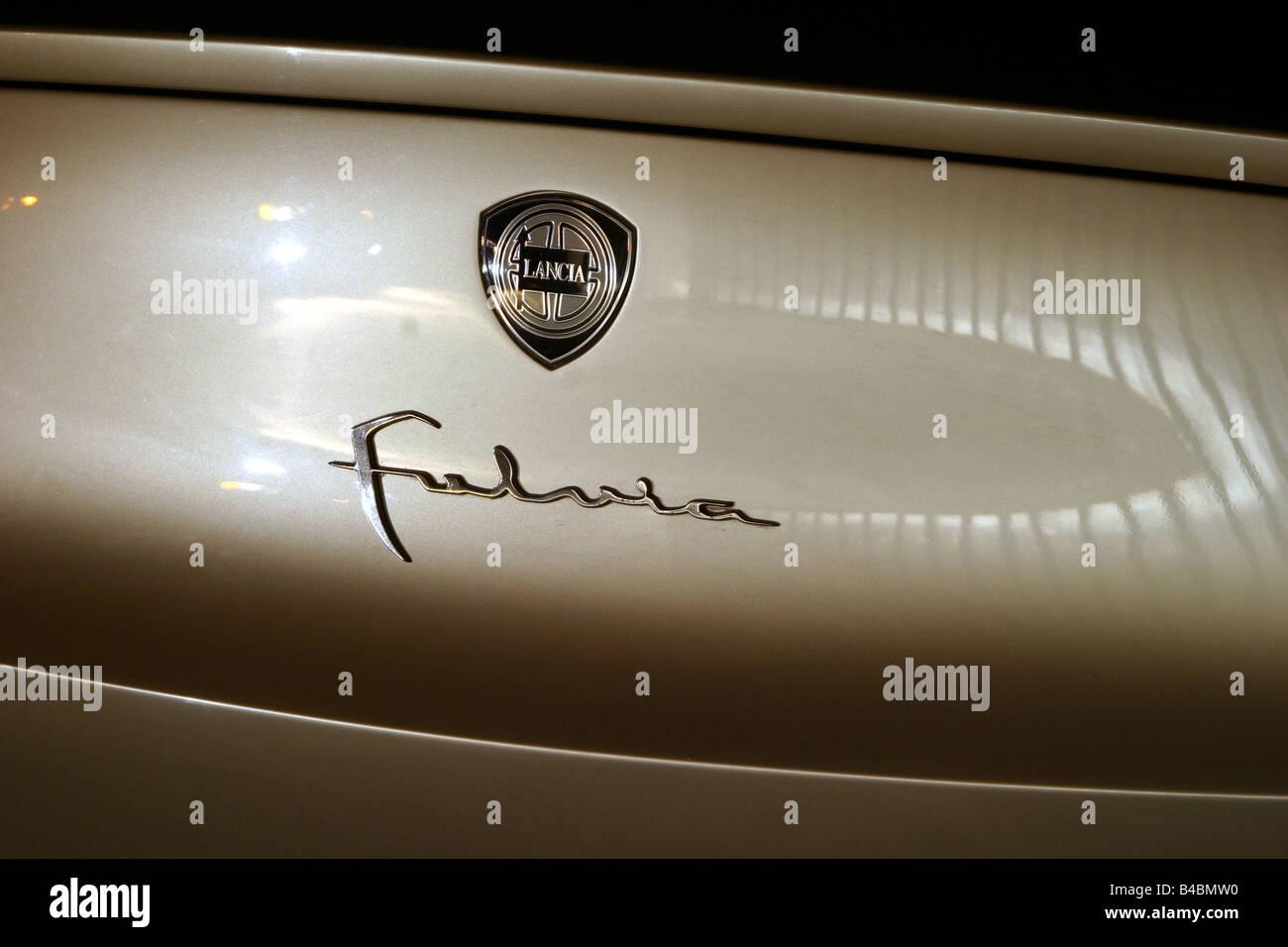 Car, Lancia Fulvia, Study, Draft and design study, model year 2003, silver, Detailed view, Company logo, Model designation - Stock Image