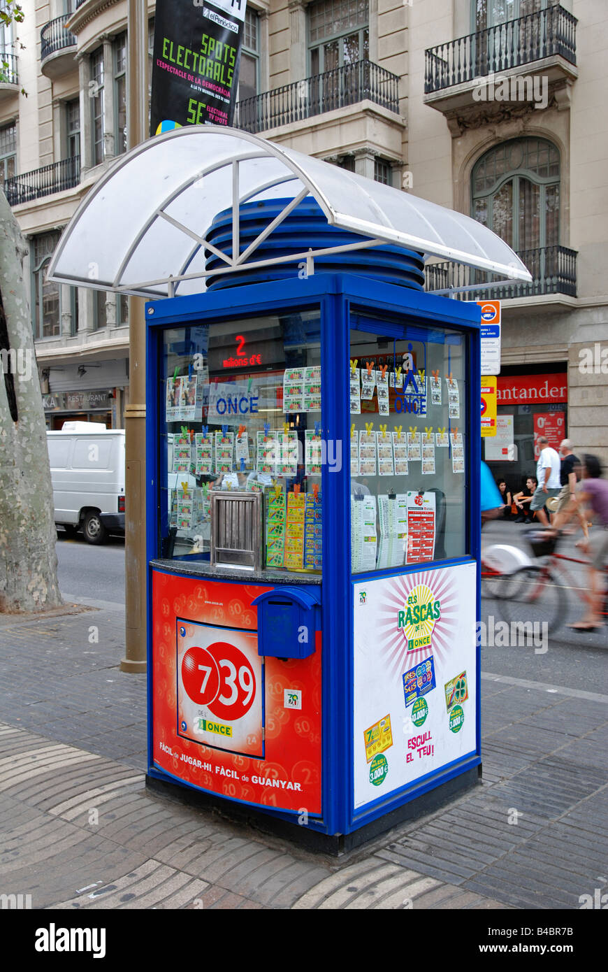a spanish lottery ticket booth on la rambla in barcelona