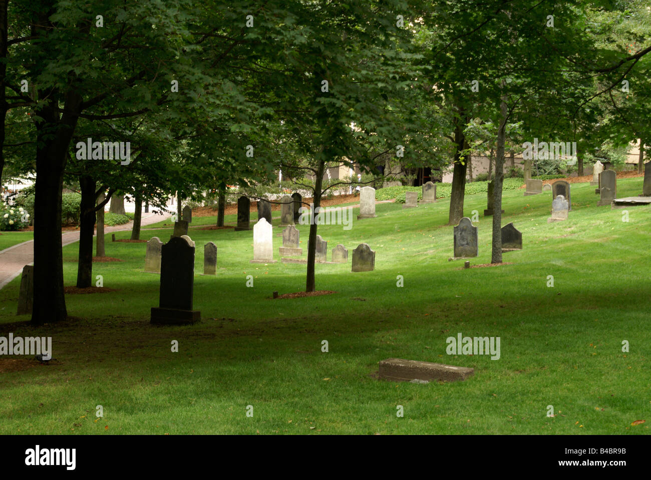 Graves of United Empire Loyalists in the Loyalist Burial Ground in the city of Saint John, New Brunswick, Canada - Stock Image