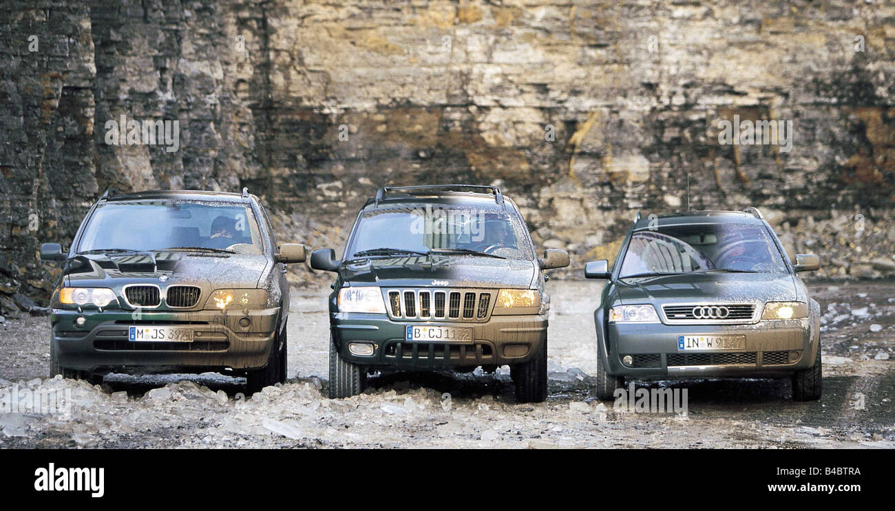 Car, Group Picture Cross Country Vehicle, Audi Allroad Quattro 2.7, Model  Year 2000 , Green, BMW X5 3.0i, Year Of Construction 2