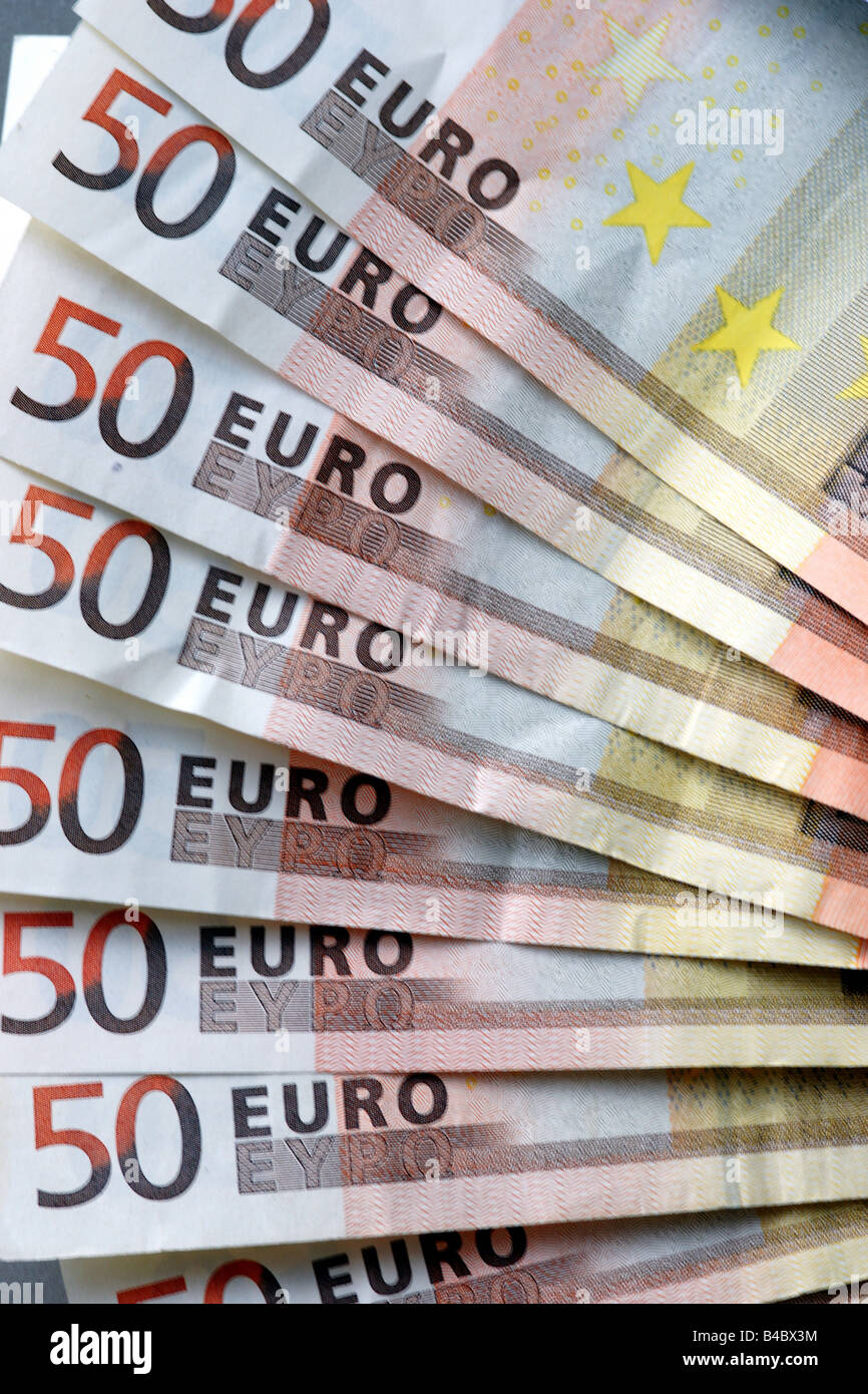 Fifty euro notes banknotes many bunch money paper note banknote 50 eur Stock Photo