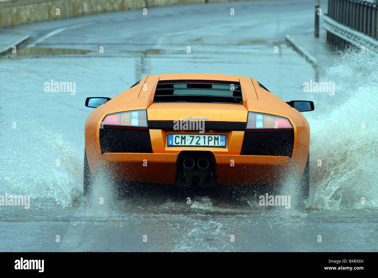 Car, Lamborghini Murcielago, Roadster, Model Year 2001 , Coupe/coupe,  Orange , Driving, Rear View, Test Track, Water, Wet Highwa