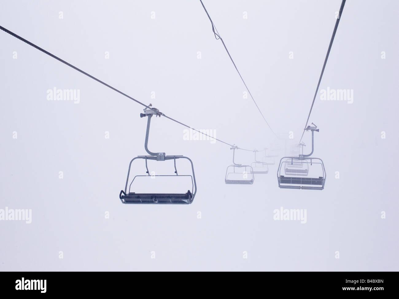 Ski Lift Chairs In The Fog